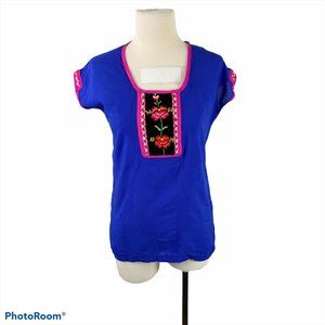 Blue & Pink Rose Embroidered Tee